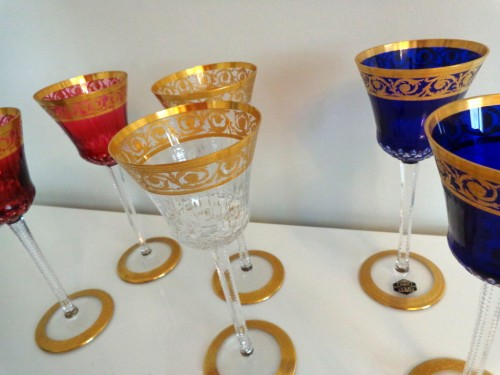 20th century - 6 Glasses Hocks Roemer in crystal Saint Louis - Thistle gold