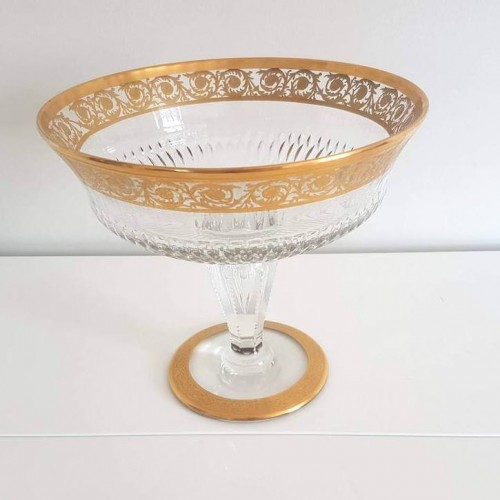 Table Center Footed Bowlin crystal Saint  Louis Thistle gold - Glass & Crystal Style Art nouveau