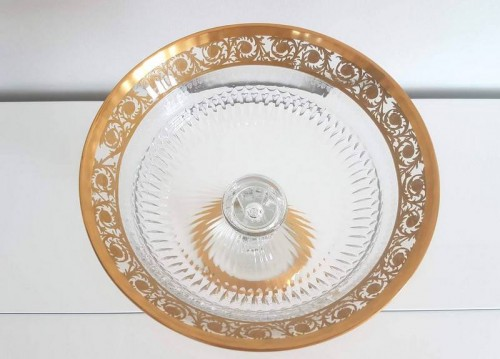 Glass & Crystal  - Table Center Footed Bowlin crystal Saint  Louis Thistle gold