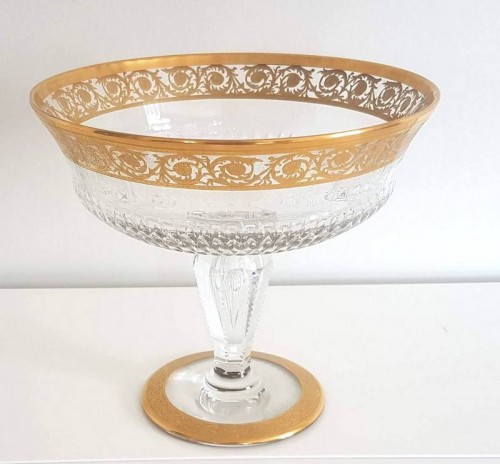 Table Center Footed Bowlin crystal Saint  Louis Thistle gold -