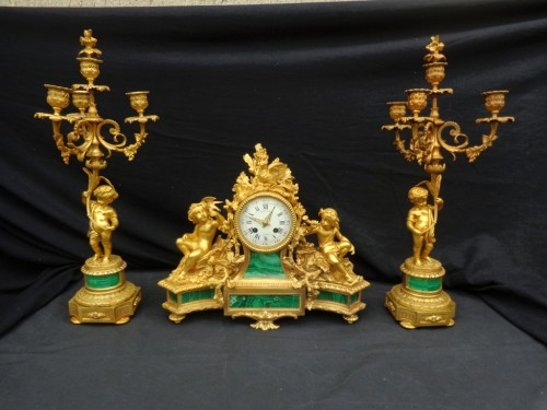 stamped Raingo Frères  Malachite Marquetry Clock and candelabra Napoléon II - Horology Style Louis XV