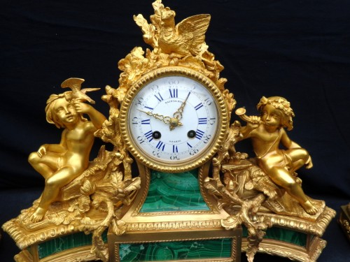 Horology  - stamped Raingo Frères  Malachite Marquetry Clock and candelabra Napoléon II
