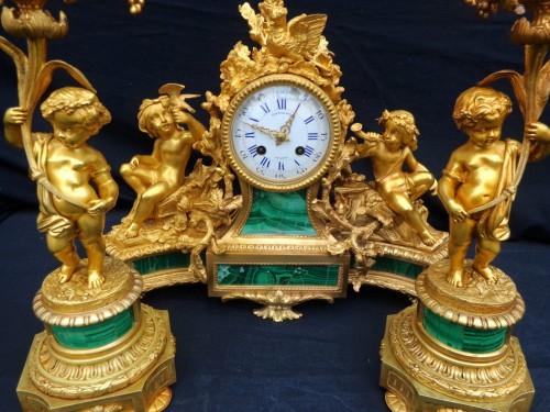 stamped Raingo Frères  Malachite Marquetry Clock and candelabra Napoléon II -