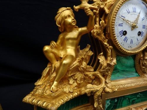stamped Raingo Frères  Malachite Marquetry Clock and candelabra Napoléon II - Louis XV