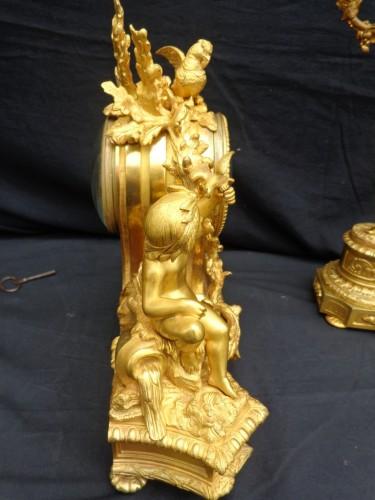 Antiquités - stamped Raingo Frères  Malachite Marquetry Clock and candelabra Napoléon II