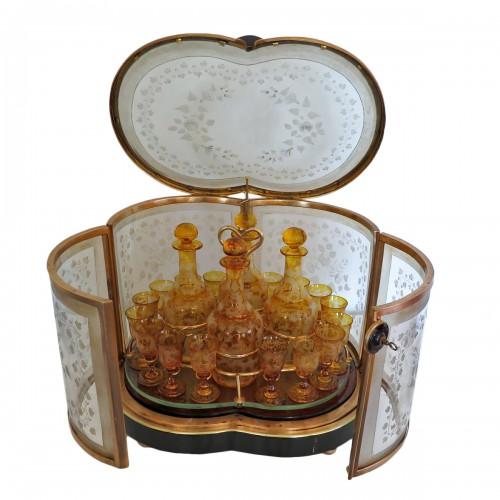 Bohême crystal Tantalus Box Bronze Napoleon III period 19th