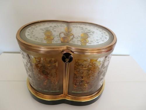 Bohême crystal Tantalus Box Bronze Napoleon III period 19th - Decorative Objects Style Louis-Philippe