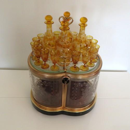Antiquités - Bohême crystal Tantalus Box Bronze Napoleon III period 19th