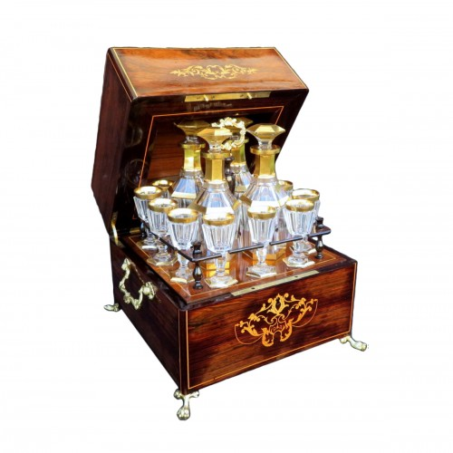 Tantalus Box in marquetry Charles X 19th century Baccarat