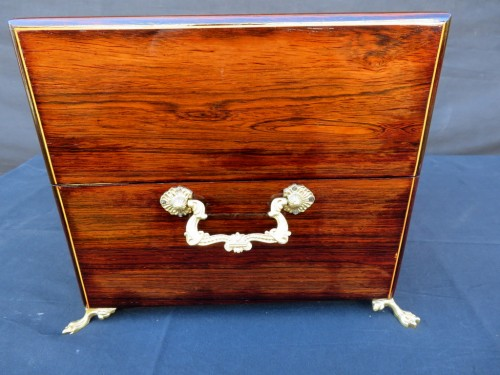 Tantalus Box in marquetry Charles X 19th century Baccarat - Decorative Objects Style Restauration - Charles X