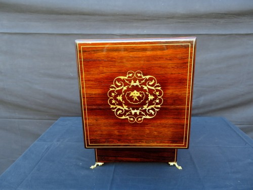 Decorative Objects  - Tantalus Box in marquetry Charles X 19th century Baccarat