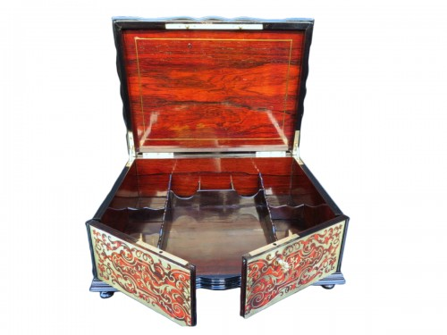 stamped TAHAN  Jewelry Box in Boulle marquetry Napoleon III period 19th
