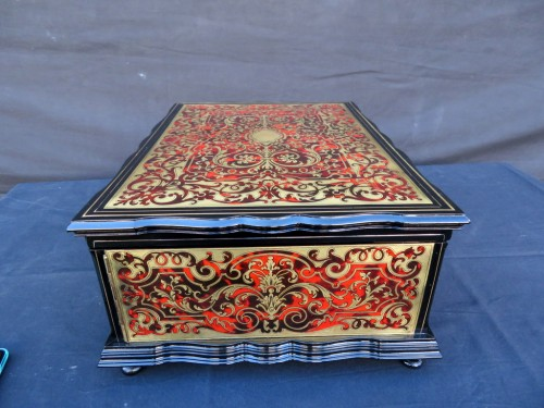 19th century - stamped TAHAN  Jewelry Box in Boulle marquetry Napoleon III period 19th