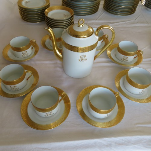 Set in Porcelaine of Limoges Thistle gold model by Chastagner - Porcelain & Faience Style Art nouveau