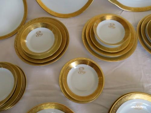 Set in Porcelaine of Limoges Thistle gold model by Chastagner - Art nouveau