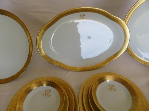 Art nouveau -  Set in Porcelaine of Limoges Thistle gold model by Chastagner