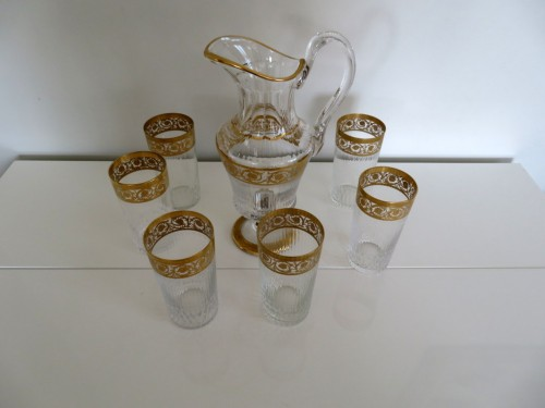 Set of fruit juice in crystal Saint Louis - Thistle gold - Glass & Crystal Style Art nouveau