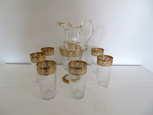 Glass & Crystal  - Set of fruit juice in crystal Saint Louis - Thistle gold