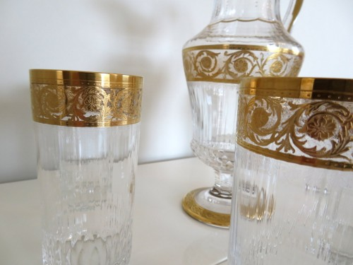 20th century - Set of fruit juice in crystal Saint Louis - Thistle gold