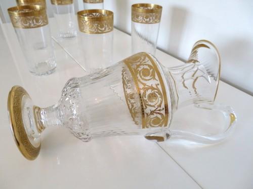 Art nouveau - Set of fruit juice in crystal Saint Louis - Thistle gold
