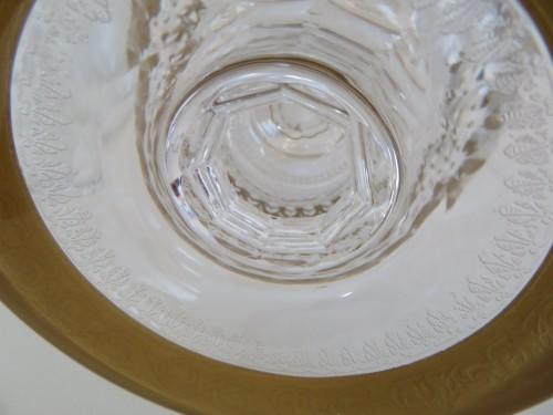 Antiquités - Set of fruit juice in crystal Saint Louis - Thistle gold
