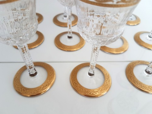 Set of glasses 42 glasses in crystal Saint Louis Thistle gold - Glass & Crystal Style Art nouveau