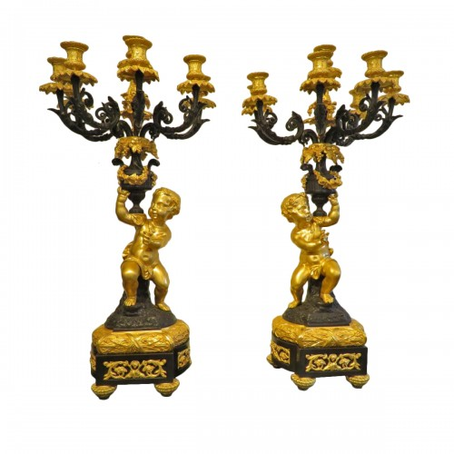 Pair of Napoléon III Candelabra in Golden Bronze