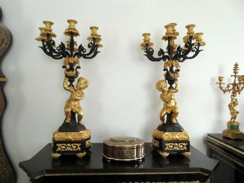 Pair of Napoléon III Candelabra in Golden Bronze - Lighting Style Napoléon III