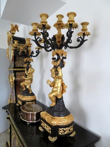 19th century - Pair of Napoléon III Candelabra in Golden Bronze