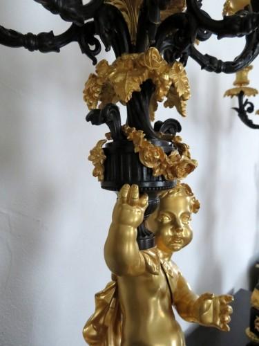 Pair of Napoléon III Candelabra in Golden Bronze - Napoléon III