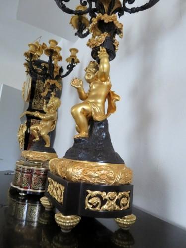 Napoléon III - Pair of Napoléon III Candelabra in Golden Bronze