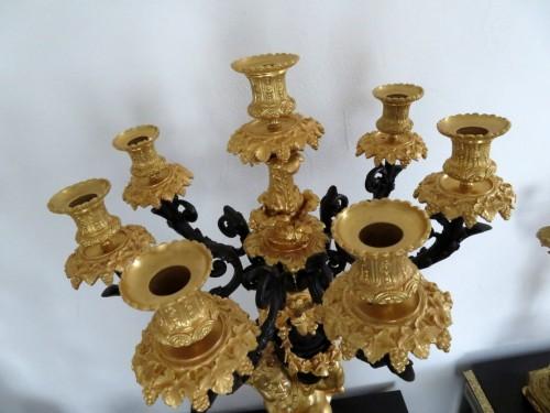 Antiquités - Pair of Napoléon III Candelabra in Golden Bronze