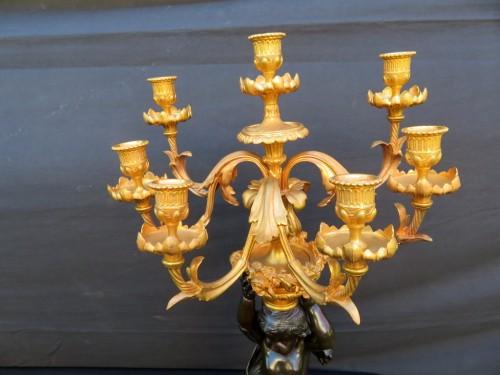 Pair of Candelabra Brown Bronze in Napoléon III period - Lighting Style Napoléon III