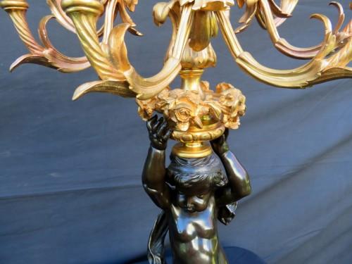 Antiquités -  Pair of Candelabra Brown Bronze in Napoléon III period