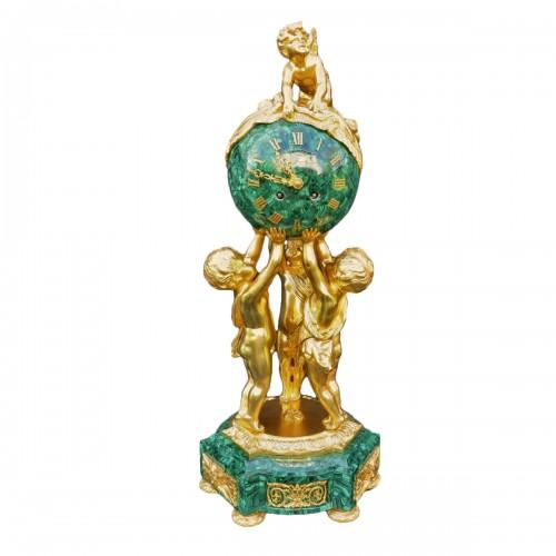 VINCENTI  Malachite Marquetry Clock  Napoléon III period