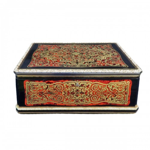 Cashmere Box in Boulle marquetry Napoleon III by Vervelle