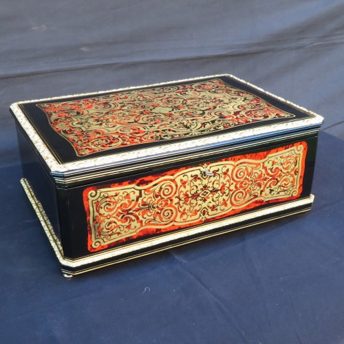 Cashmere Box in Boulle marquetry Napoleon III by Vervelle  - Objects of Vertu Style Napoléon III