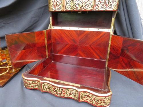 Tantalus Box in Boulle marquetry - Bohemia crystal Napoleon III period 19th - Napoléon III