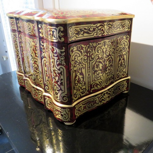 Antiquités - Tantalus Box in Boulle marquetry - Bohemia crystal Napoleon III period 19th