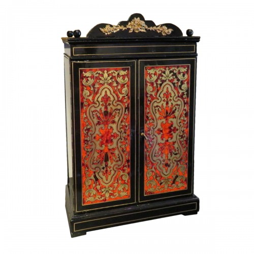 Jewelry Wardrobe stamped AUDIGE Boulle marquetry Napoleon III period 19th