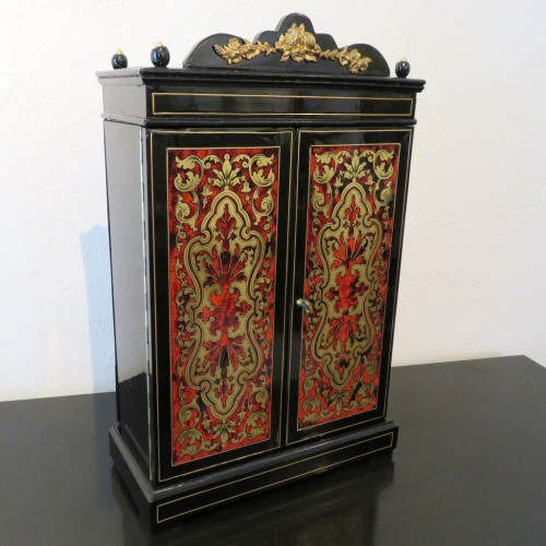Jewelry Wardrobe stamped AUDIGE Boulle marquetry Napoleon III period 19th   -