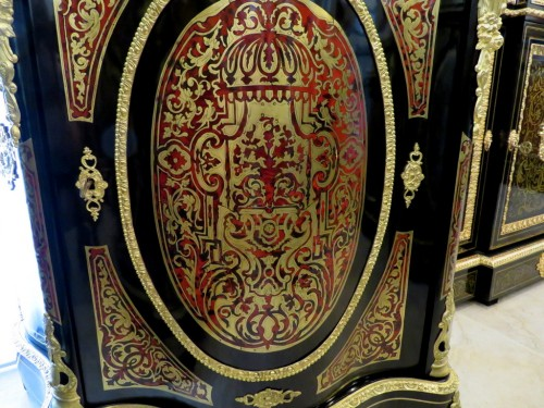 Cabinet 1 door in Boulle marquetry 19th Napoléon III - Furniture Style Napoléon III