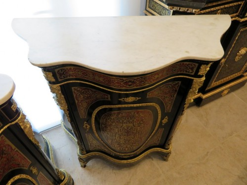 Furniture  - Cabinet 1 door in Boulle marquetry 19th Napoléon III