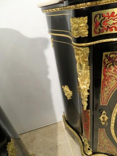 Antiquités - Cabinet 1 door in Boulle marquetry 19th Napoléon III
