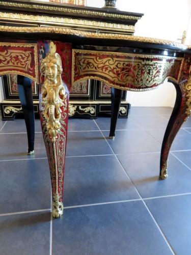 Furniture  - Table in marquetry Boulle 19th Napoléon III period - Perfect condition