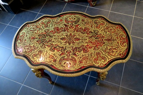 Table in marquetry Boulle 19th Napoléon III period - Perfect condition -