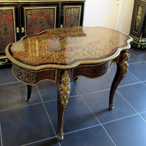 19th century - Table in marquetry Boulle 19th Napoléon III period - Perfect condition
