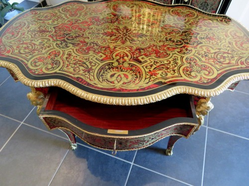 Antiquités - Table in marquetry Boulle 19th Napoléon III period - Perfect condition