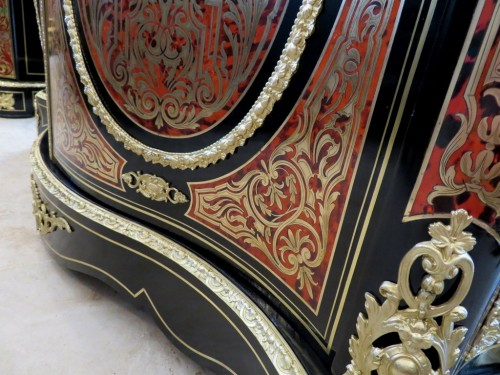 19th century - Cabinet 2 doors in Boulle marquetry 19th Napoléon III