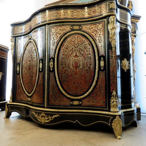 Antiquités - Cabinet 2 doors in Boulle marquetry 19th Napoléon III